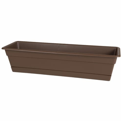 Bloem DCBT30-45 30 in. Dura Cotta Window Box Planter, Chocolate Perspective: front