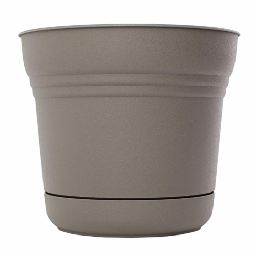 Bloem 7483662 4.5 x 5 in. Plastic Saturn Planter, Charcoal Perspective: front