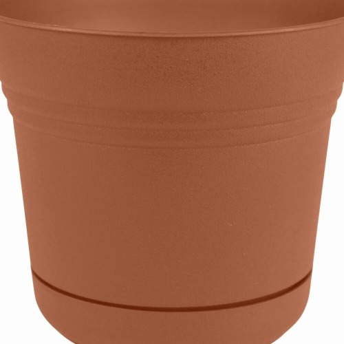 Bloem SP0746 7 in. Saturn Planter with Saucer, Terra Cotta Perspective: front