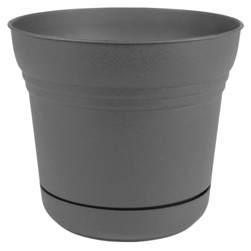 Bloem SP07908 7 in. Saturn Planter with Saucer, Charcoal Perspective: front