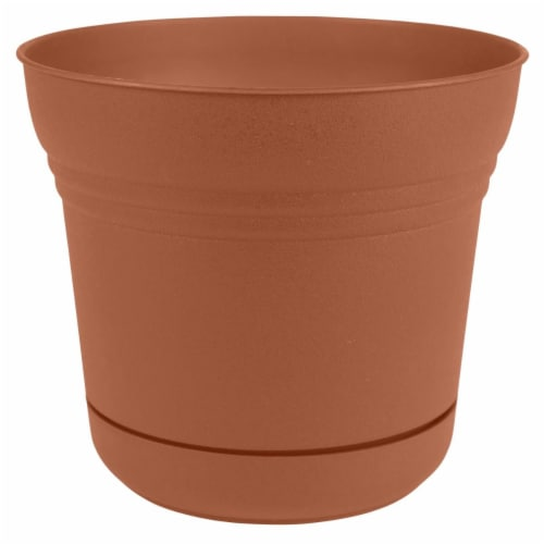 Bloem SP1246 12 in. Saturn Planter with Saucer, Terra Cotta Perspective: front