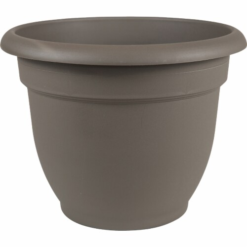 Bloem 256721 12 in. Ariana Bell Shaped Planter, Charcoal Perspective: front