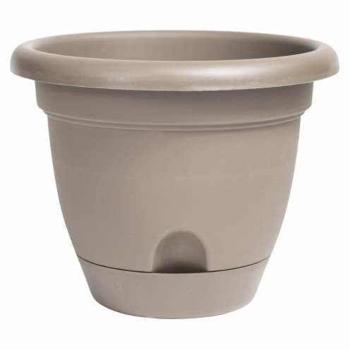 Bloem LP1483 14 in. Lucca Self Watering Planter with Saucer, Pebble Stone Perspective: front