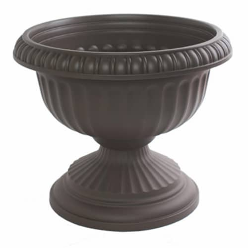 Bloem 256832 12 in. Grecian Plastic Urn, Charcoal Perspective: front