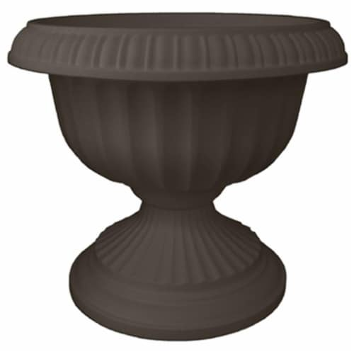 Bloem 256853 18 in. Grecian Plastic Urn  Charcoal Pack of  6 Perspective: front
