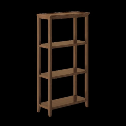New Ridge Home Goods 3-tier Tall Traditional Wooden Bookcase in Walnut Perspective: front