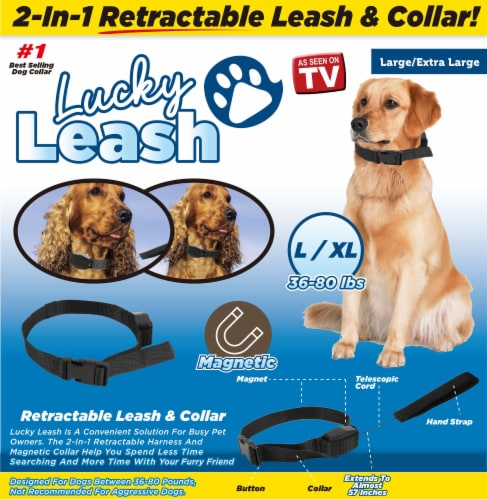 Lucky Leash 2-In-1 Retractable Leash & Collar Perspective: front