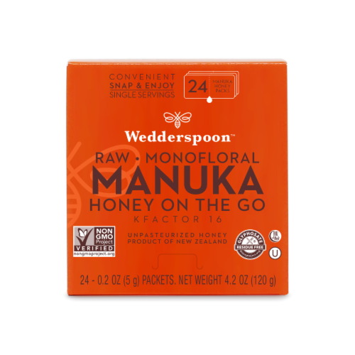 Wedderspoon Raw Monofloral Manuka Honey On The Go Packs Perspective: front