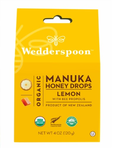 Wedderspoon Organic Lemon Manuka Honey Drops Perspective: front