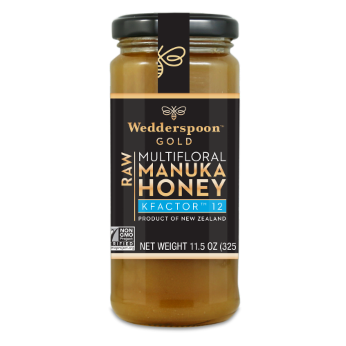 Wedderspoon Gold 100% Raw KFactor 12 Manuka Honey Perspective: front