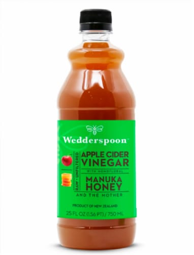 Wedderspoon  Raw Apple Cider Vinegar with KFactor™ 16 Manuka Honey and The Mother Perspective: front