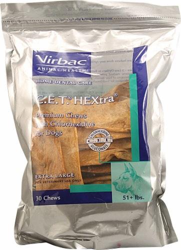 Virbac C.E.T. HEXtra Extra Large Premium Chews with Chlorhexidine for Dogs Perspective: front