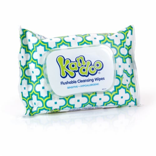 Kids Kandoo® Flushable Sensitive Cleansing Wipes Soft Pack Perspective: front