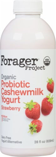 Forager Project Organic Dairy-Free Strawberry Probiotic Cashewmilk Yogurt Alternative Drink Perspective: front
