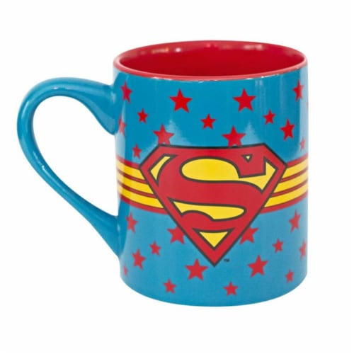 Silver Buffalo 14 oz Superman Stars Logo Wrap Ceramic Mug Perspective: front