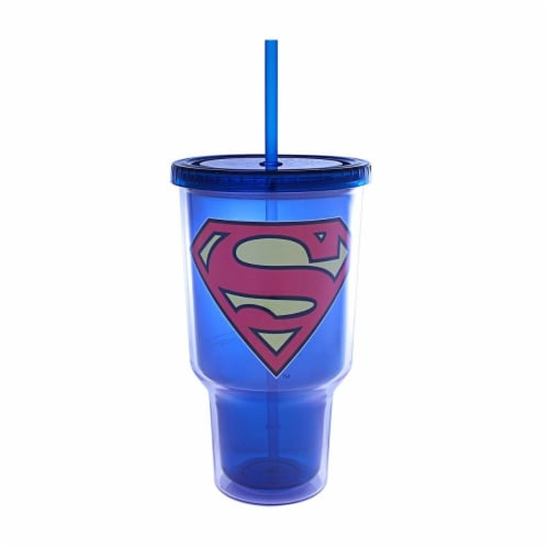 Silver Buffalo 32 oz Superman Logo Plastic Jumbo Cold Cup Perspective: front