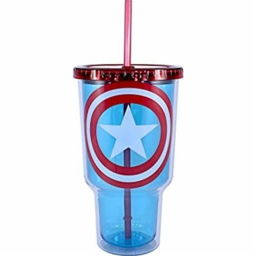 Silver Buffalo 32 oz Captain America - Shield Jumbo Cold Cup with Lid & Straw Perspective: front