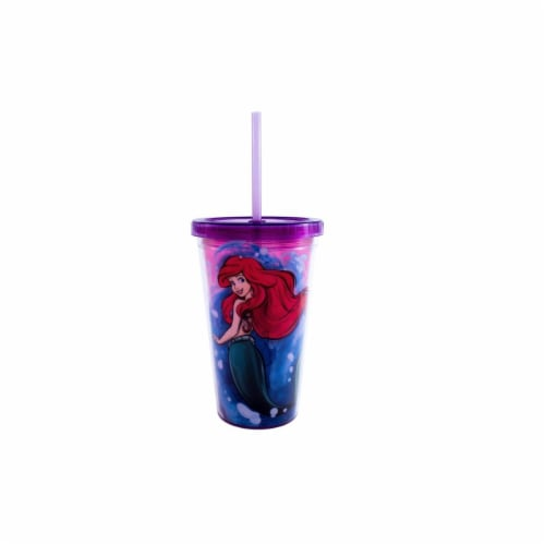 Silver Buffalo 16 oz Disney Princess Ariel Cold Cup with Shell Cubes Perspective: front