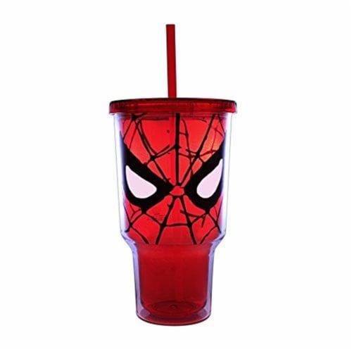 Silver Buffalo 32 oz Spider-Man Eyes Jumbo Plastic Cold Cup with Lid & Straw Perspective: front