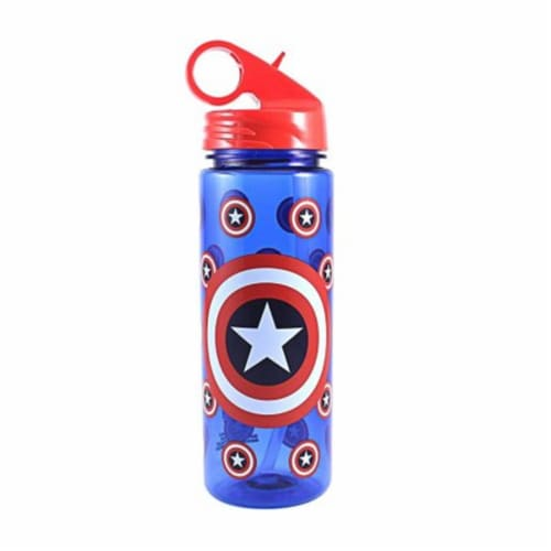 Silver Buffalo 230869 600 ml Captain America Water Bottle, Blue Perspective: front