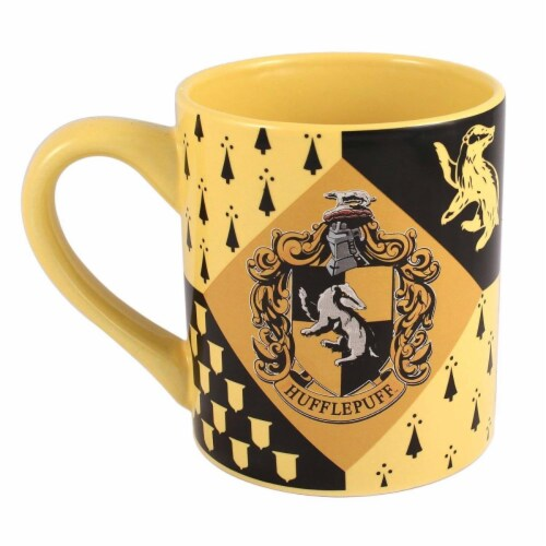 Harry Potter Black & Yellow Hufflepuff Mug Perspective: front