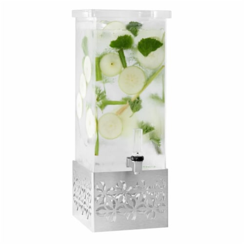 Rosseto LD162 Iris Rectangle Stainless Steel & Acrylic Beverage Dispenser, 3 gal Perspective: front