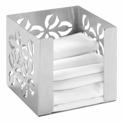 Rosseto SM262 Iris Small Napkin Holder, Stamped Brushed Stainless Steel Perspective: front
