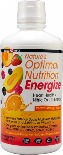Health Direct  Nature's Optimal Nutrition Energizer   Peach Mango Splash Perspective: front