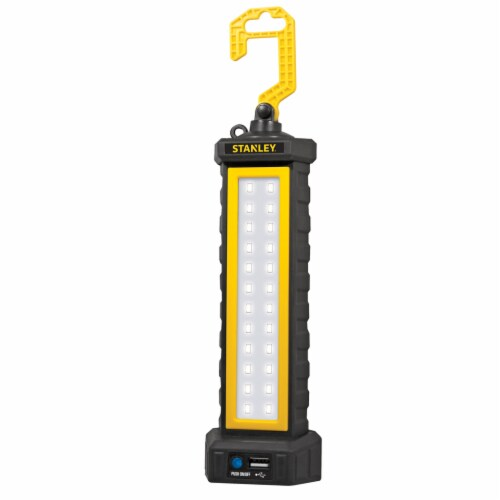 Stanley® 24 Chip Style LED Work Light with 2-Way USB Charging & Output - Black/Yellow Perspective: front