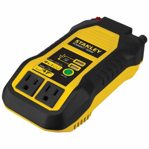Stanley® 500-Watt Power Inverter with Dual USB Ports - Black/Yellow Perspective: front