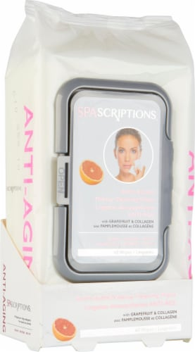 Spascriptions Grapefruit Anti-Aging Makeup Cleansing Wipes Perspective: front