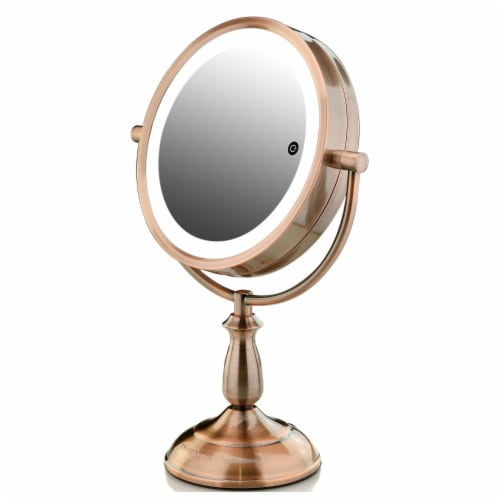 Ovente Lighted Standing Vanity Makeup Mirror with LED Lights - Copper Perspective: front