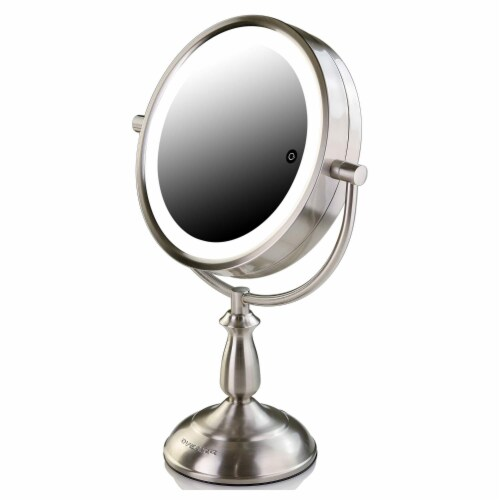 Ovente Lighted Standing Vanity Makeup Mirror with LED Lights - Brushed Nickel Perspective: front