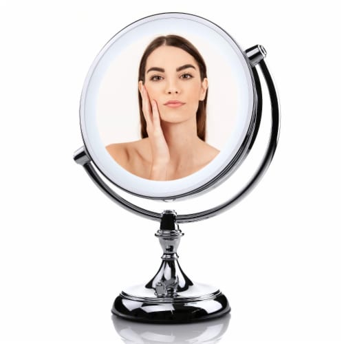 Ovente Lighted Standing Vanity Makeup Mirror with 5X Magnification Perspective: front