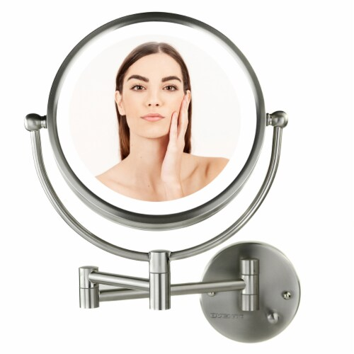 Ovente Circle Wall-Mounted Vanity Makeup Mirror with Extendable Arm - Brushed Nickel Perspective: front