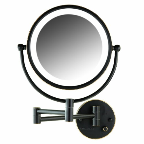 Ovente Circle Wall-Mounted Vanity Makeup Mirror with Extendable Arm - Oil Rubbed Bronze Perspective: front
