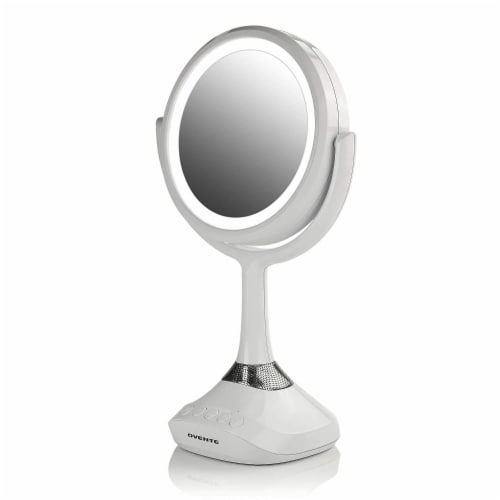 Ovente Portable Standing Makeup Mirror with Bluetooth Speaker Compatibility - White Perspective: front