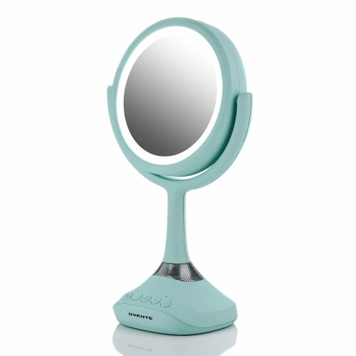 Ovente Portable Standing Makeup Mirror with Bluetooth Speaker Compatibility - Blue Perspective: front