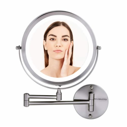 Ovente Circle Wall-Mounted Vanity Makeup Mirror with Extendable Arm Perspective: front