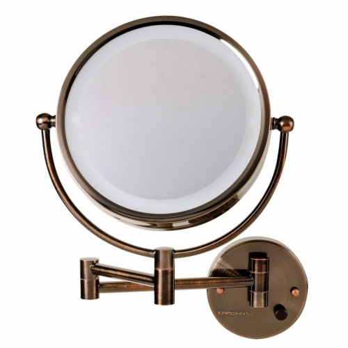 Ovente Circle Wall-Mounted Vanity Makeup Mirror with Extendable Arm - Antique Bronze Perspective: front