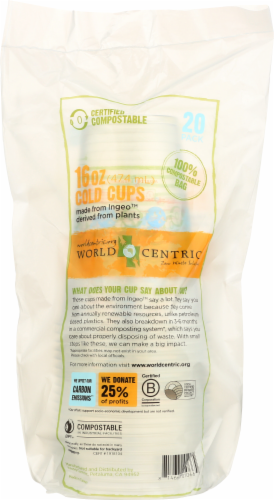 World Centric 16-Ounce Compostable Cold Cups Perspective: front