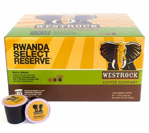 Westrock Rwanda Select Reserve Dark Roast Single Serve Coffee Cups Perspective: front