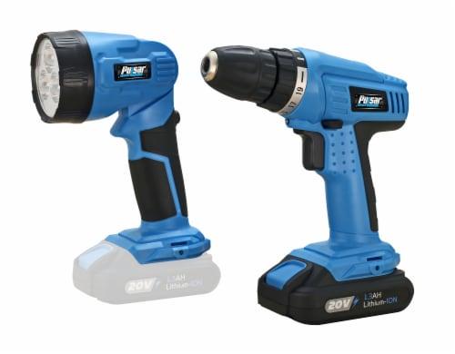 Pulsar 20V Drill & Flashlight Kit - Blue/Black Perspective: front