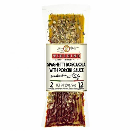 Tiberino Spaghetti Boscaiola with Porcini Sauce Perspective: front