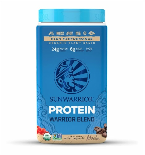 Sunwarrior  Warrior Blend Plant-Based Organic Protein   Mocha Perspective: front