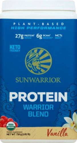 Sunwarrior Warrior Blend Plant-Based Vanilla Dietary Supplement Protein Powder Perspective: front