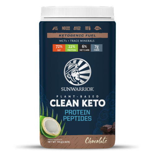 Sunwarrior Chocolate Plant-Based Clean Keto Protein Peptides Perspective: front