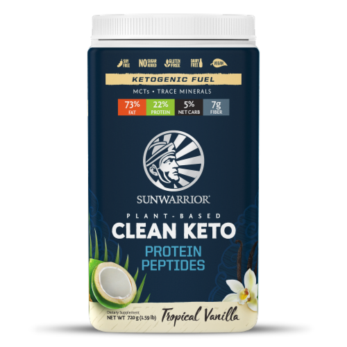 Sunwarrior Tropical Vanilla Plant-Based Clean Keto Protein Peptides Perspective: front