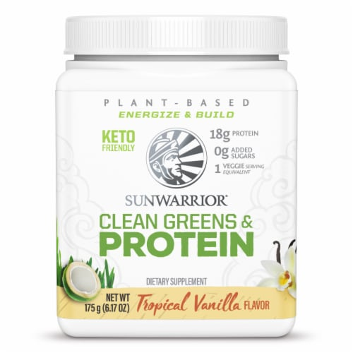 Sunwarrior Tropical Vanilla Clean Greens & Protein Supplement Perspective: front