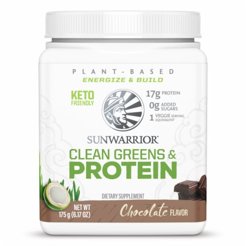 Sunwarrior Chocolate Clean Greens & Protein Supplement Perspective: front